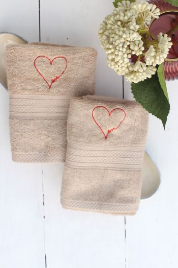 Love Embroidered Hand Towels, Set of 2, Beige