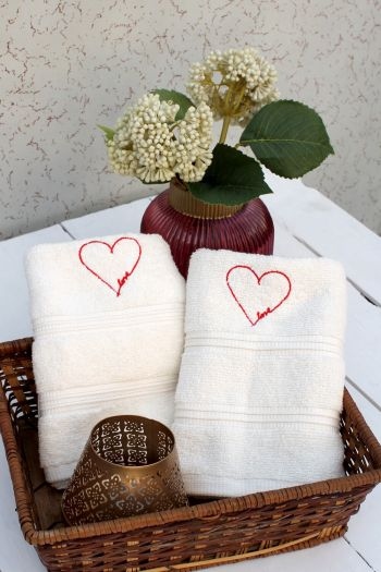 Love Embroidered Hand Towels, Set of 2, Cream
