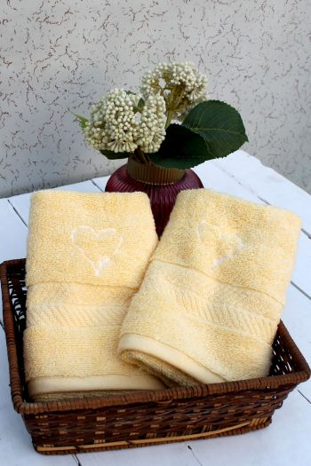 Love Embroidered Hand Towels, Set of 2, Yellow