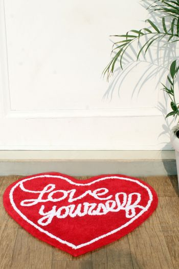 Love Yourself Cotton Mat, Red