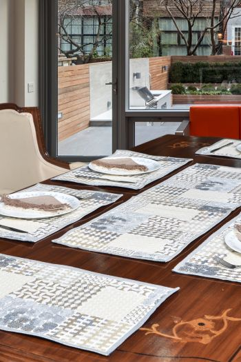 Abstract Table Set- 6 Table Mats & 1 Runner