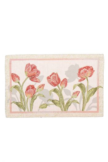Floral Stalks Table Mat - Set of 4, (Pink & White)