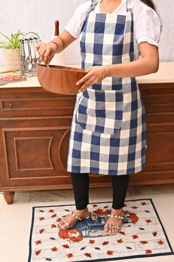 Checks Cotton Apron, Blue