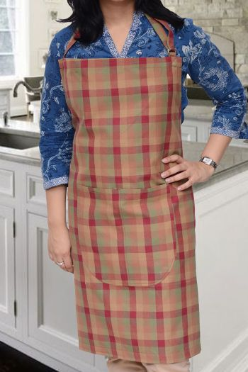 Checks Cotton Apron, Multicolor