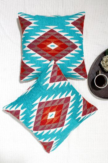 Zest Cushion Covers, Set of 2, Turquoise
