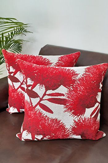 Floral Cushion Covers, Set of 2, Red
