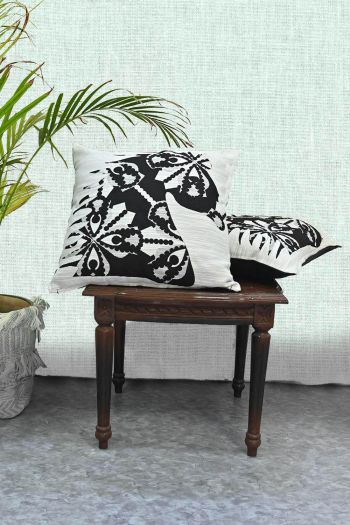 Horse Cushion Covers, Set of 2, Black & Grey