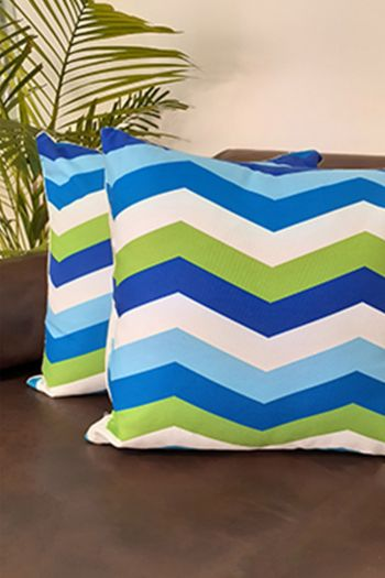 Chevron Indoor/Outdoor Cushion Covers, Set of 2, Blue, Green & White