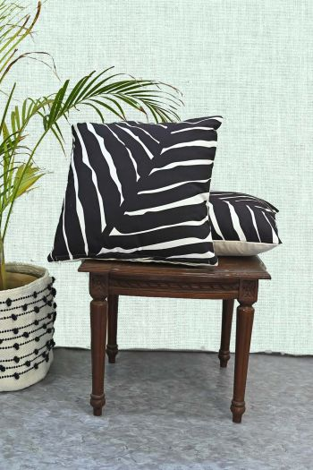 Abstract Indoor/Outdoor Cushion Covers, Set of 2, Black & White