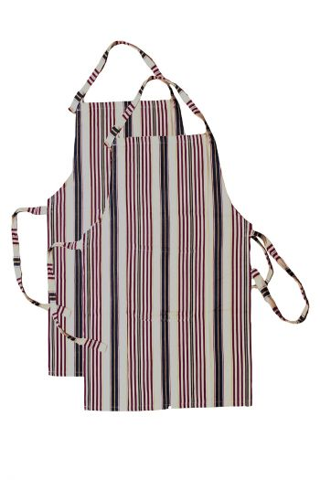 Stripe Cotton Apron, Red