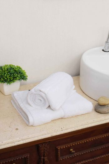 Imperial Zero Twist Hand Towel Set, White