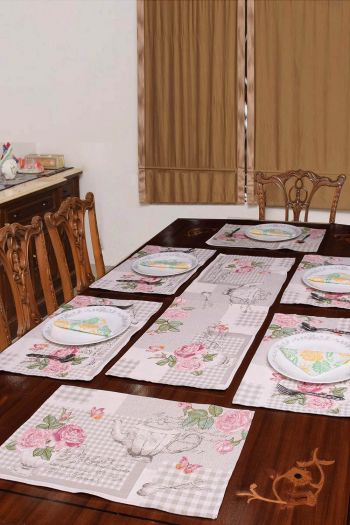 English Tea Set of 6 Table Mats & Runner, Multicolor