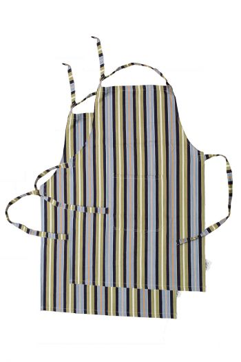 Stripe Cotton Apron, Blue
