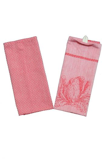 Floral Kitchen Towels, Set of 6, Red