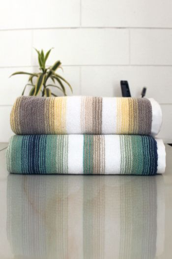 Set of 2 Classy Stripe Cotton 600 GSM Bath Towel Set