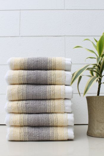 Set of 6 Classy Stripe 600 GSM Cotton Hand Towel