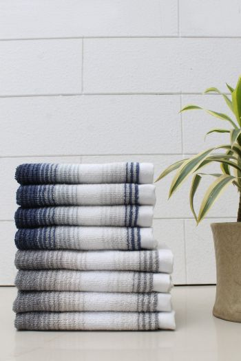 Set of 8 Classy Stripe Cotton 600 GSM Face Towel