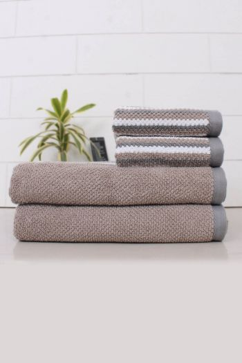 Set of 4 Textured Stripe Towel Set, 550 GSM