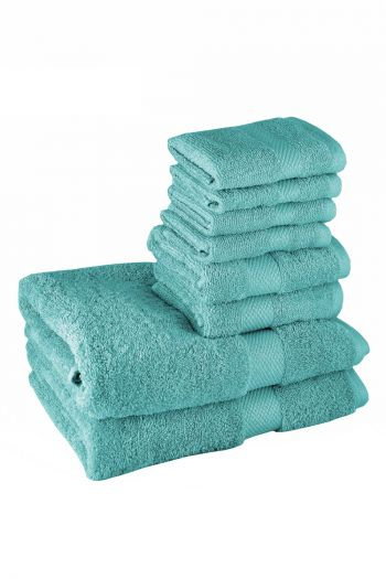 Ultimate Essential Cotton Towels Set, Turquoise Blue