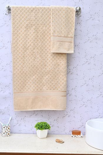 Sculpted Decorative Towel Set, Beige