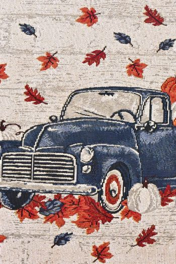 Vintage Car Woven Kitchen Rug with Anti Slip, Blue