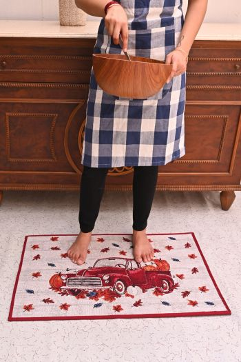 Vintage Car Woven Kitchen Rug with Anti Slip, Red