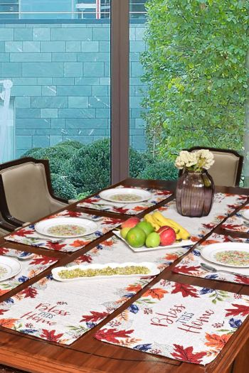 Bless This Home Table Mats & Runner, Set of 7, Multicolor