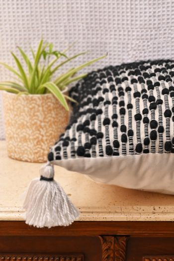 Chevron Bobble Cushion with Tassle and Filled