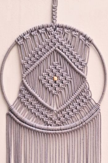 Elegant Dreamcatcher Wall Hanging, Grey