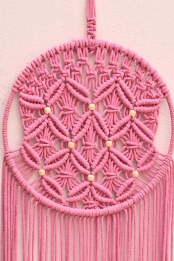 Round Floral Dreamcatcher Wall Hanging, Pink