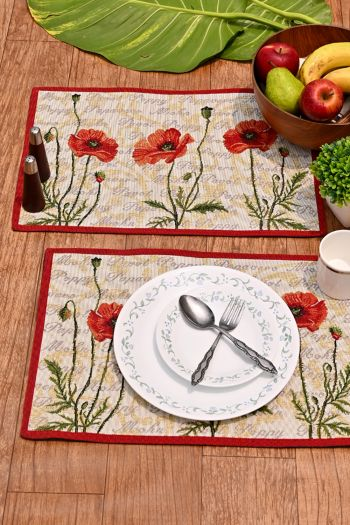 Poppy Dining Table Mats Set of 4, Red