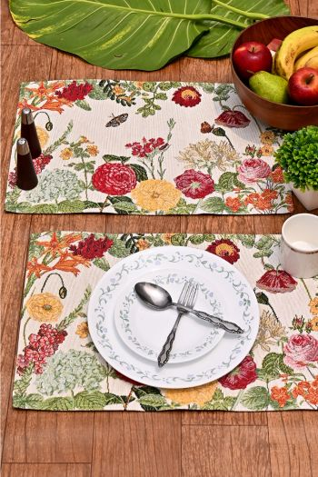 Tropical Dining Table Mats Set of 4, Red