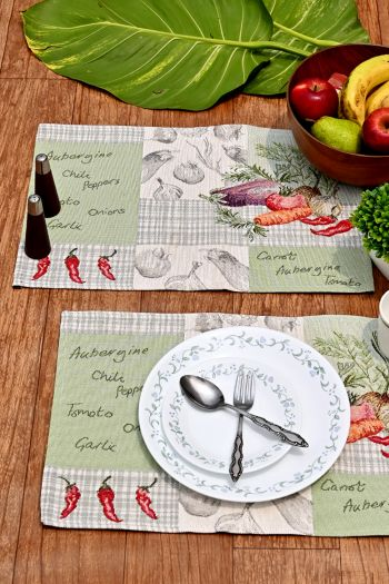 Vege Dining Table Mats Set of 4, Green