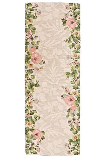 Floral Delight Dining Table Mats & Runner Set of 7, Pink