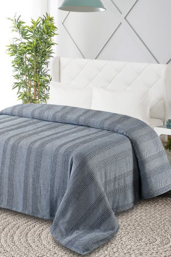 Kimberly King Size Organic Cotton Blanket, Blue & White