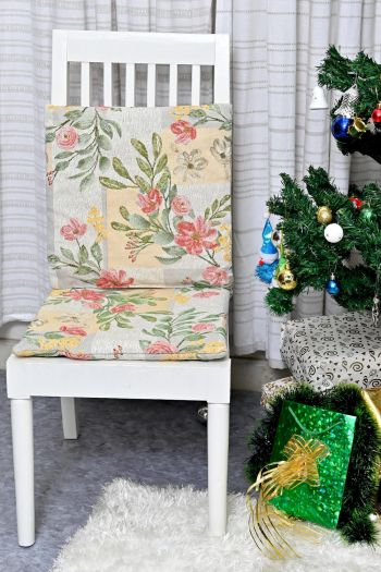 Summer Blossom Chair Pad & Chair Cushion - Set of 2, Yellow & Red