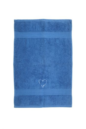 Love Embroidered Hand Towels, Set of 2, Blue