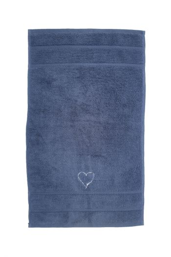 Love Embroidered Hand Towels, Set of 2, Navy Blue