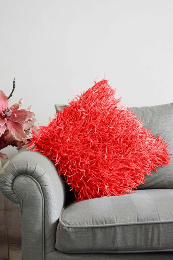 Shaggy Cushion Cover, Red