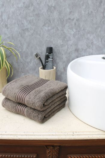 Glam Egyptian Cotton Hand Towel, Set of 2, Brown