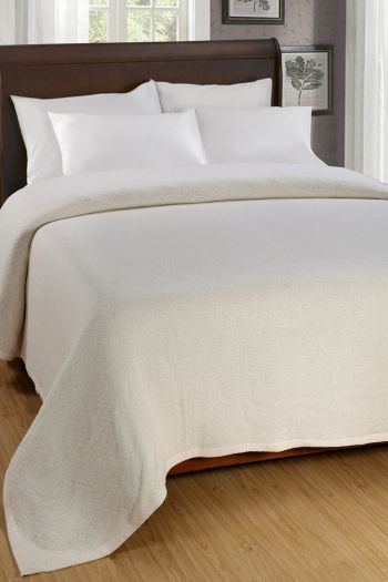 "Twill Cotton Blanket, 90"" x 90"", Cream"