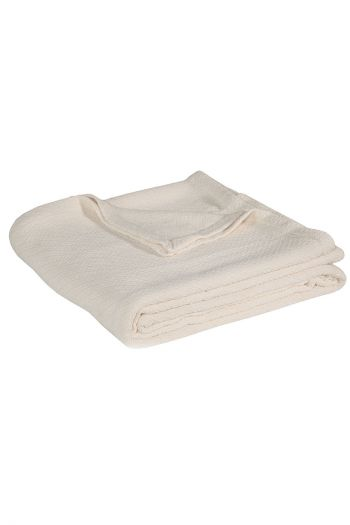 "Twill Cotton Blanket, 108"" x 90"", Cream"
