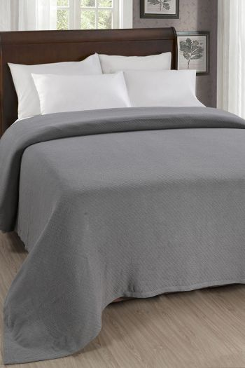 "Twill Cotton Blanket, 108"" x 90"", Grey"