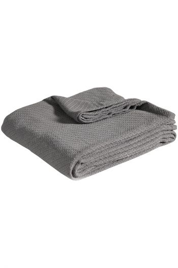 "Twill Cotton Blanket, 90"" x 90"", Grey"