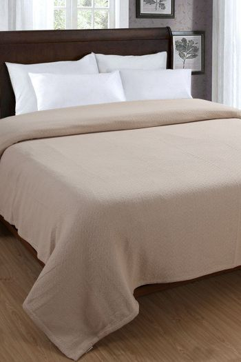 "Honeycomb Cotton Blanket, 108"" x 90"", Beige"