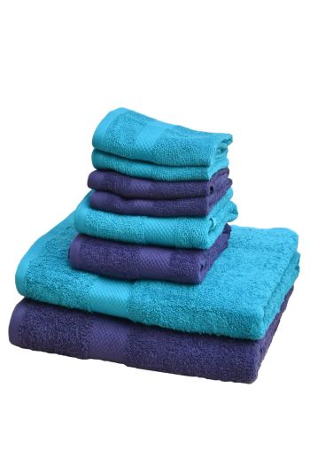 Ultimate Essential Cotton Towels Set, Navy Blue & Turquoise Blue
