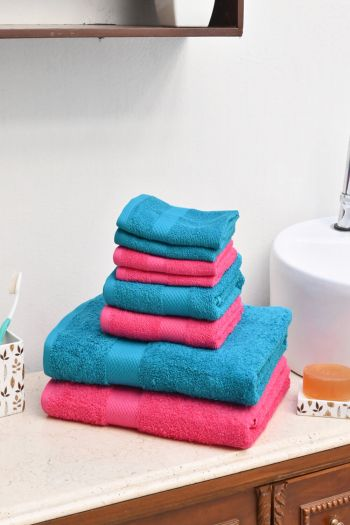 Ultimate Essential Cotton Towels Set, Turquoise Blue & Pink