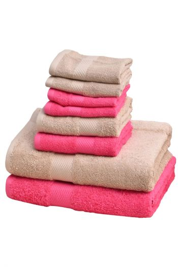 Ultimate Essential Cotton Towels Set, Beige & pink