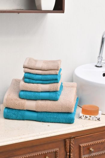 Ultimate Essential Cotton Towels Set, Beige & Turquoise Blue