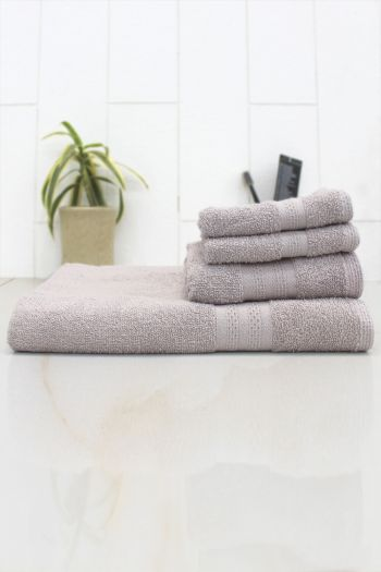 Anti Microbial Set of 4  Cotton Towels, Grey